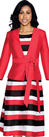 Nubiano Dresses DN4522-Red Ladies Striped Layered Dress With Solid Jacket