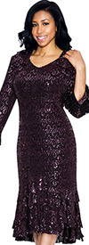 Nubiano Dresses DN4802 Ladies Metallic Knit Dress With Block Fringes