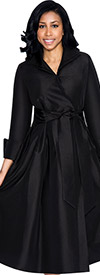 Nubiano Dresses DN5371-Black Pleated Dress With Belt & Layered Collar