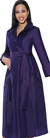 Clearance Nubiano Dresses DN5371-Purple Pleated Dress With Belt & Layered Collar