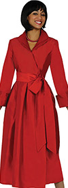 Nubiano Dresses DN5371-Red Pleated Dress With Belt & Layered Collar