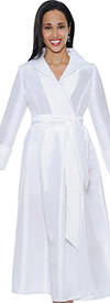 Nubiano Dresses DN5371-White Pleated Dress With Belt & Layered Collar