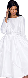 Nubiano Dresses DN5871-White Pleated Dress With Belt