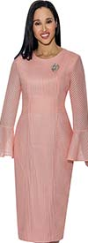 Nubiano Dresses DN3321-Pink -  Fluted Cuff Dress With Multi Directional Line Texture Design