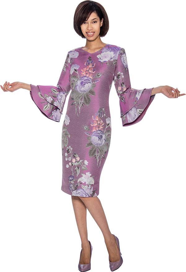 Nubiano Dresses DN3381-Purple - Double Bell Sleeve Dress With Floral Print