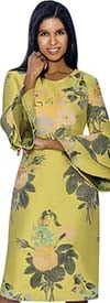 Nubiano Dresses DN3381-Yellow - Double Bell Sleeve Dress With Floral Print