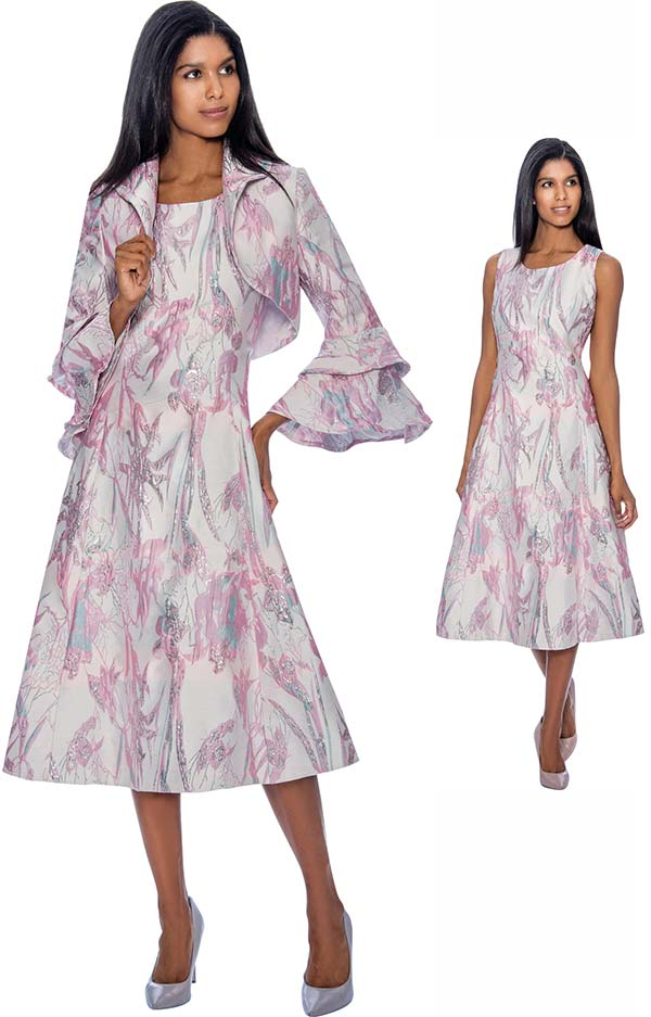 Nubiano Dresses DN3402 Printed A-Line Dress With Double Bell Sleeve Bolero Jacket