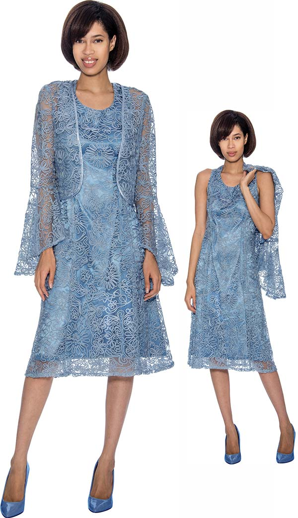 Nubiano Dresses DN3462-Perri -  Mesh & Solid Layered Dress With Flare Sleeve Jacket