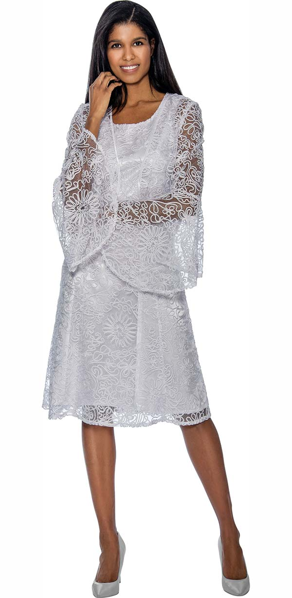 Nubiano Dresses DN3462-White -  Mesh & Solid Layered Dress With Flare Sleeve Jacket