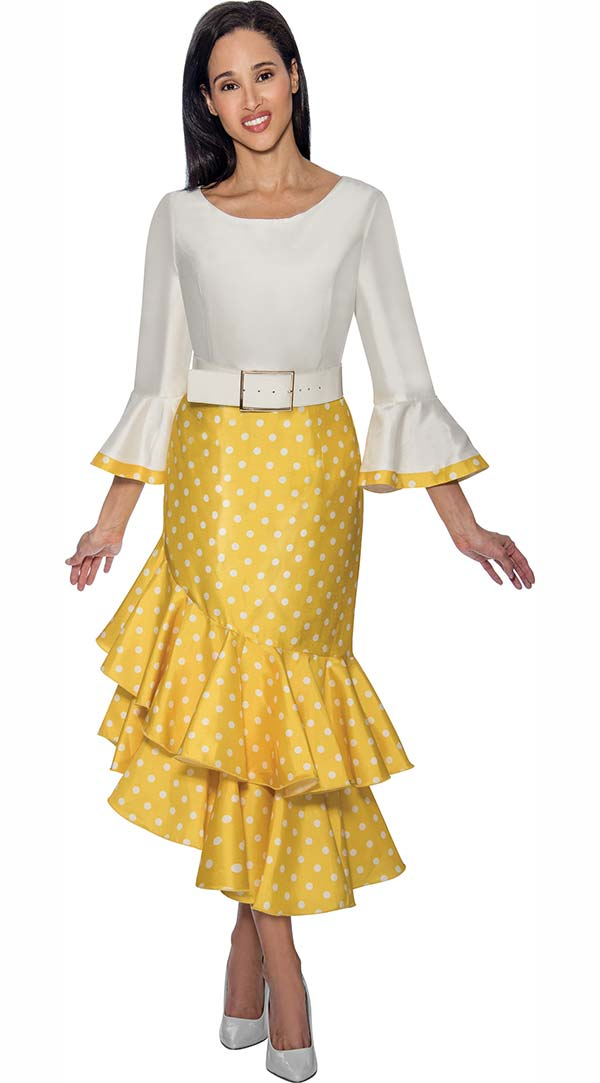 Nubiano Dresses DN3581-Yellow - Polka Dot Print Bell Sleeve Dress With Double Flounce Hem