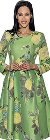 Nubiano Dresses DN3751-Green - Pleated Floral Print A-Line Dress