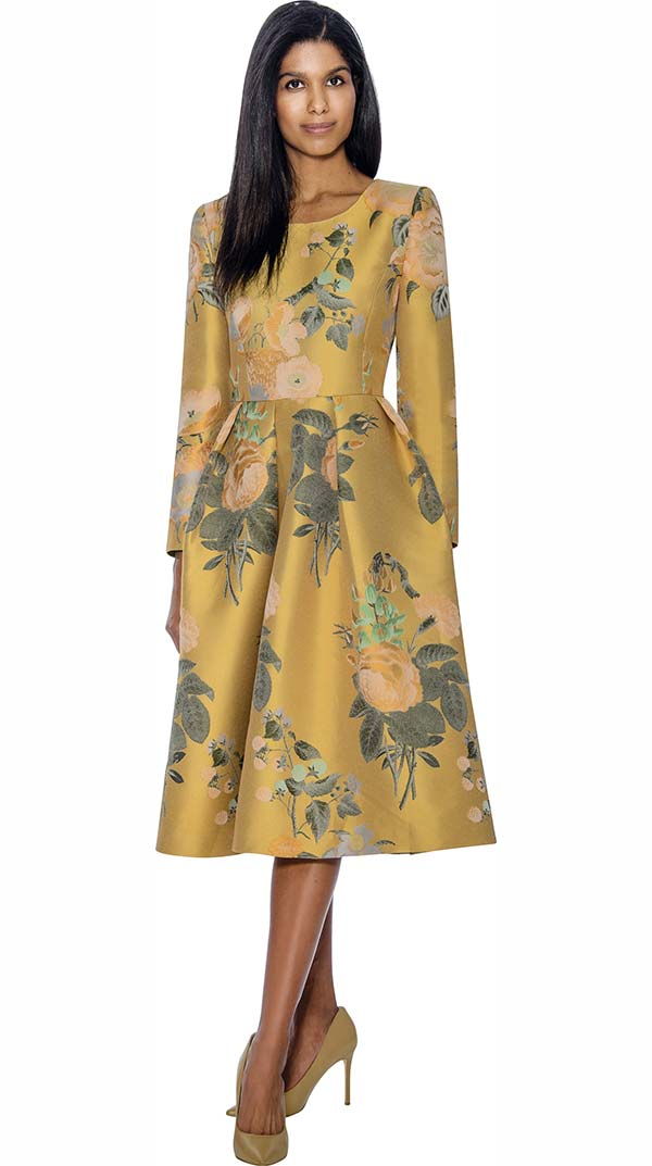 Nubiano Dresses DN3751-Yellow - Pleated Floral Print A-Line Dress