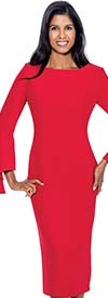 Nubiano Dresses DN3781-Red - Bell Sleeve Dress