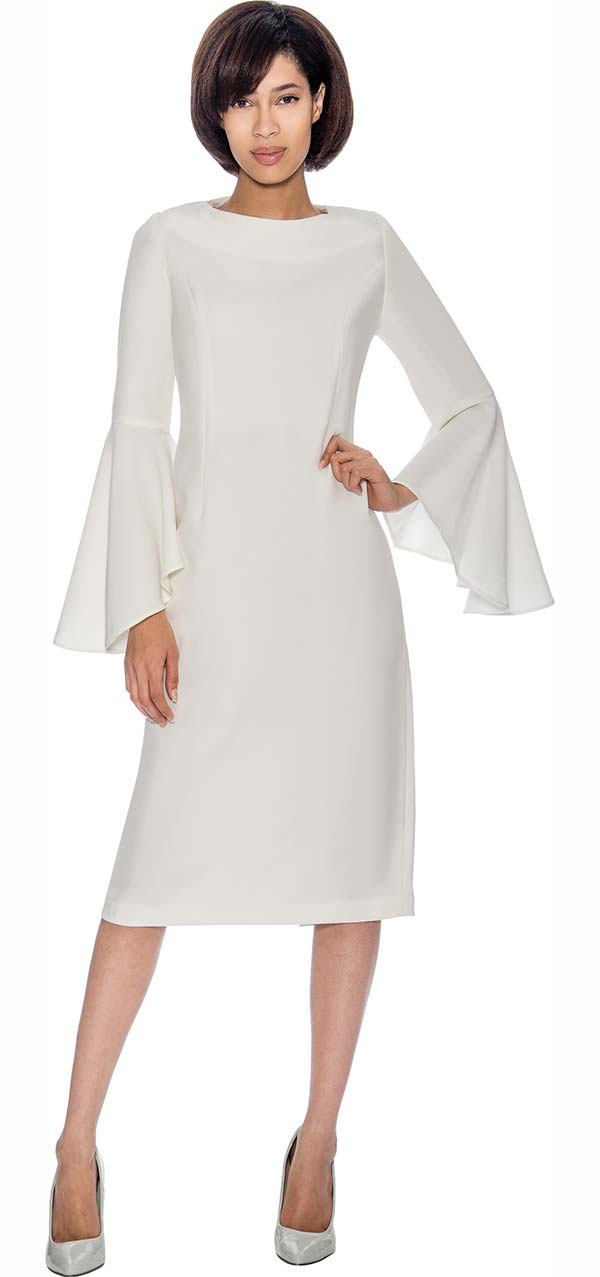 Nubiano Dresses DN3781-White - Bell Sleeve Dress