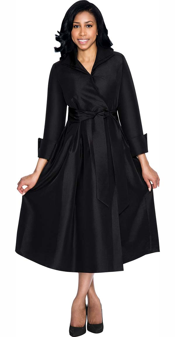 Nubiano Dresses DN5371-Black - Wing Collar Wrap Dress With Sash