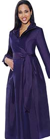 Nubiano Dresses DN5371-Purple - Wing Collar Wrap Dress With Sash