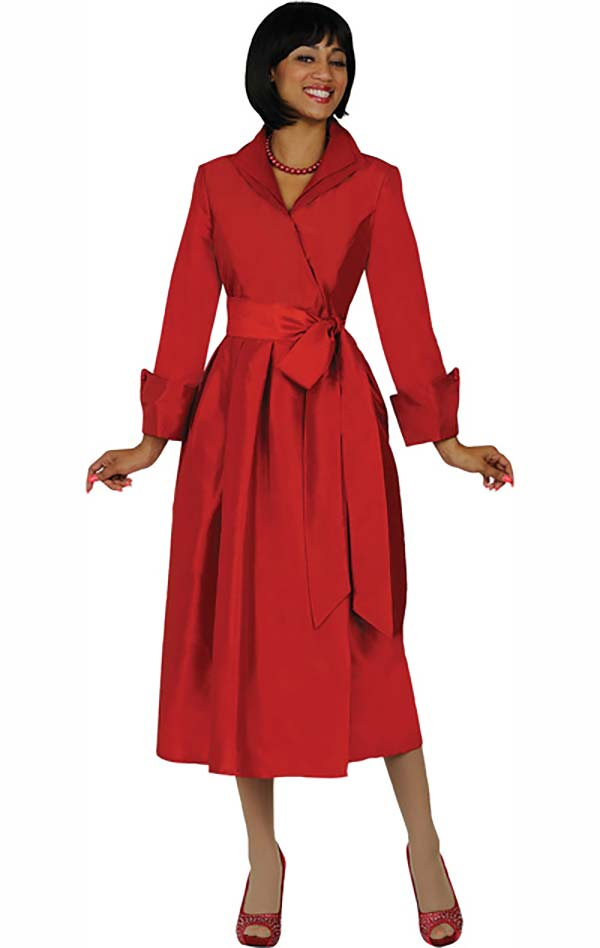 Nubiano Dresses DN5371-Red - Wing Collar Wrap Dress With Sash