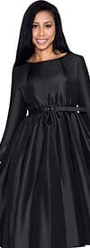 Nubiano Dresses DN5871-Black - Pleated A-Line Dress With Belt
