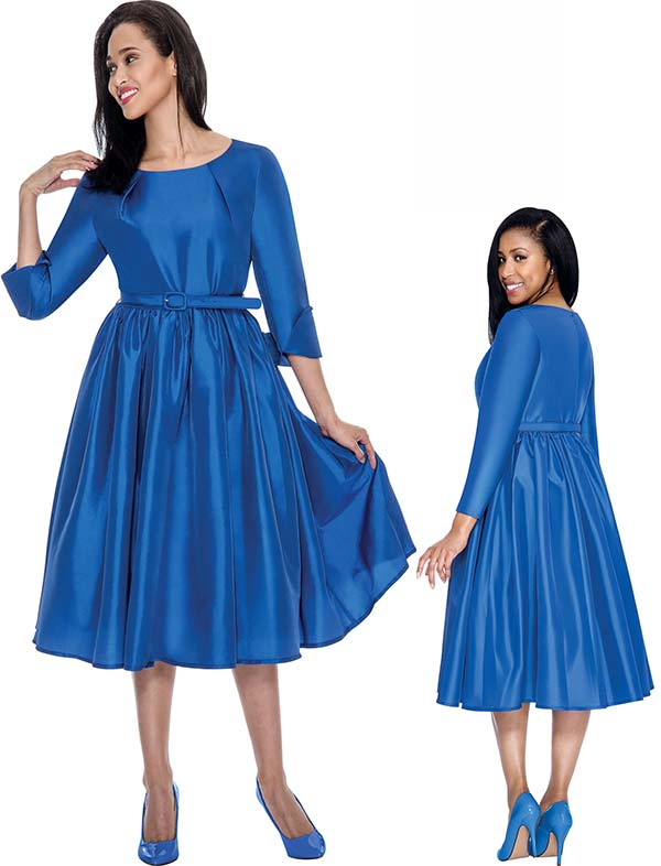 Nubiano Dresses DN5871-Royal - Pleated A-Line Dress With Belt