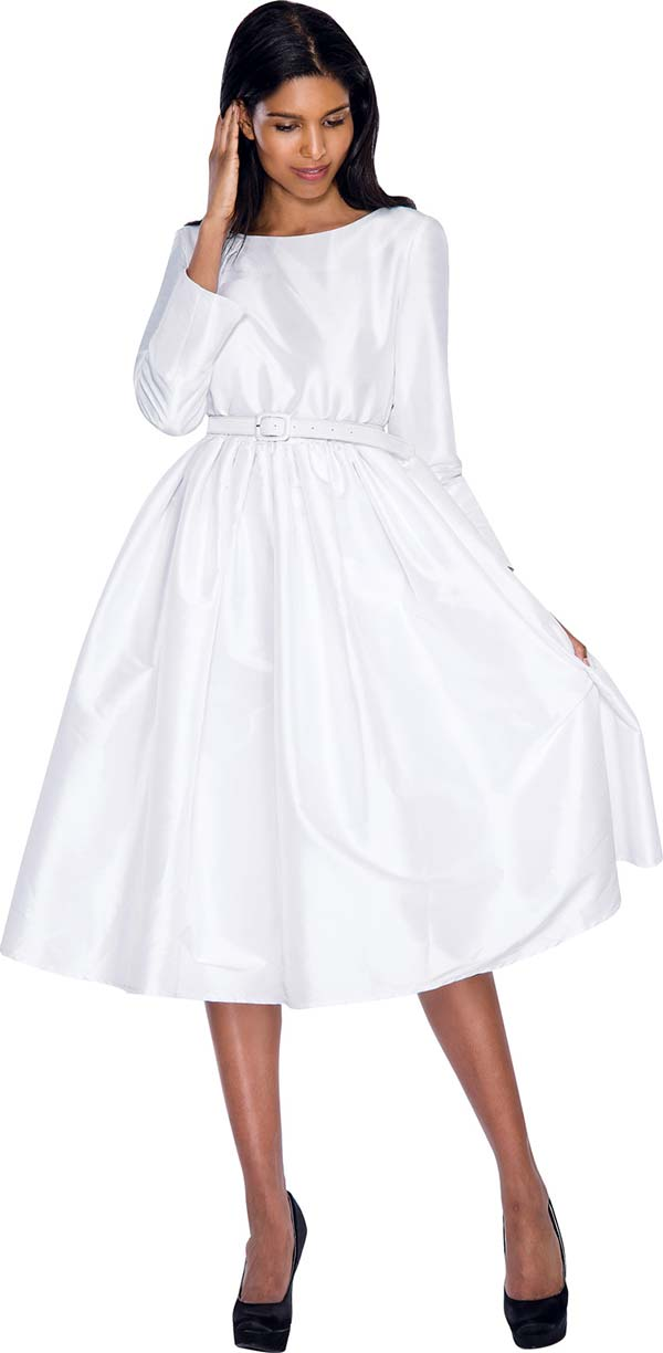 Nubiano Dresses DN5871-White - Pleated A-Line Dress With Belt