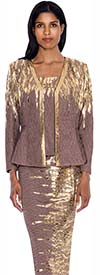 Nubiano N93593 Womens Cocoa / Gold Church Suit
