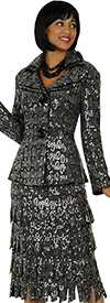 Nubiano N94342-Charcoal Ladies Church Suit