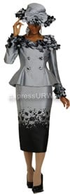 Nubiano N94822-Charcoal Ladies Church Suit