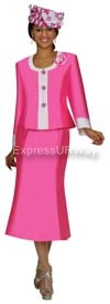 Nubiano N95392 Bright Pink Ladies Church Suit