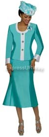 Nubiano N95392 Sea Green Ladies Church Suit