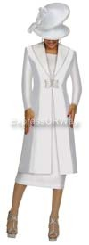 Nubiano N95603 White Ladies Church Suit