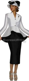 Clearance Nubiano N95472-Black/White Ladies Church Suit