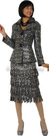 Nubiano N94342-Silver Ladies Church Suit
