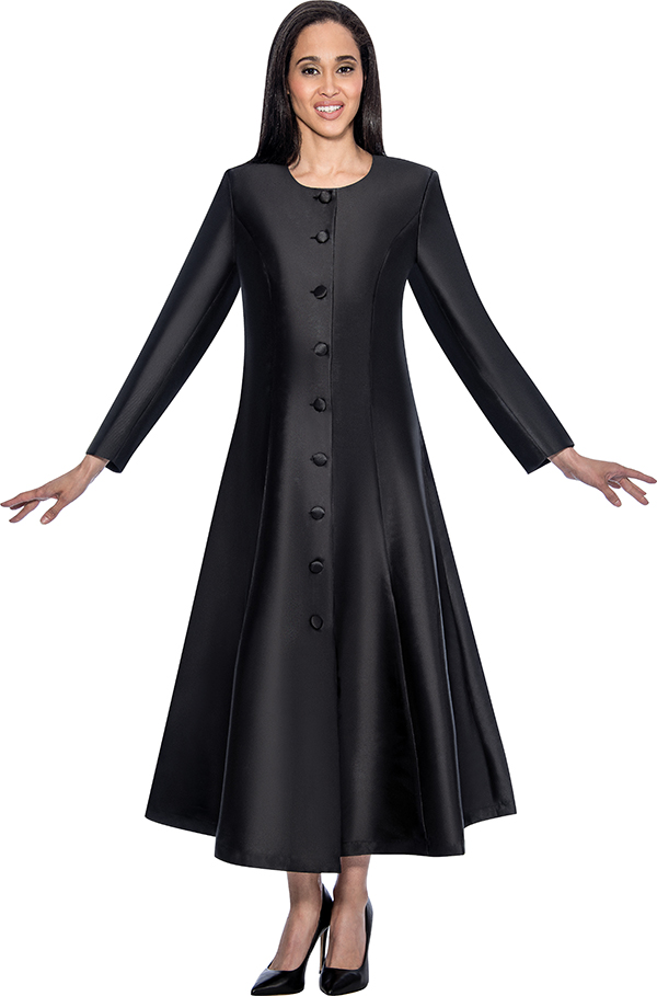 Regal Robes RR9041-Black Church Robe With Flared Design