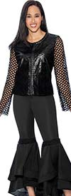 Rose Collection RC102 Womens Frill Hem Pant Suit With Lace Sleeve & Faux Leather Top