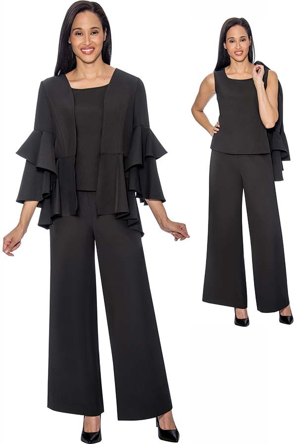 Rose Collection RC1034-Black Three Piece Womens Pant Suit With Layered Pleat Ruffle Design