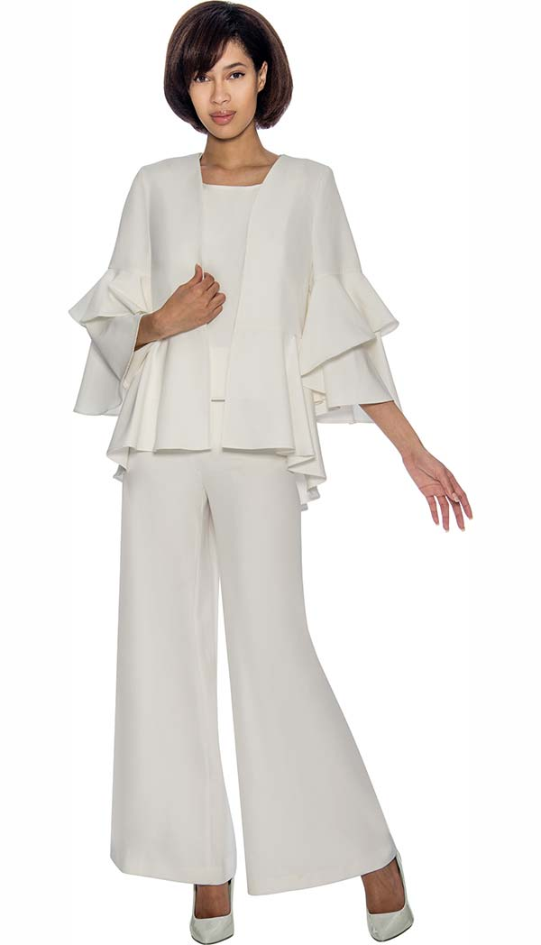 Rose Collection RC1034-White Three Piece Womens Pant Suit With Layered Pleat Ruffle Design