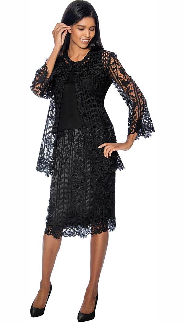 Rose Collection RC143-Black Three Piece Womens Suit With Intricate Cut-Out Design