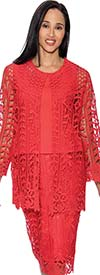 Rose Collection RC143-Red Three Piece Womens Skirt Suit With Intricate Cut-Out Design