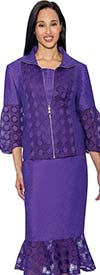 Rose Collection RC153-Purple Flounce Hem Skirt Suit With Intricate Cut-Out Design