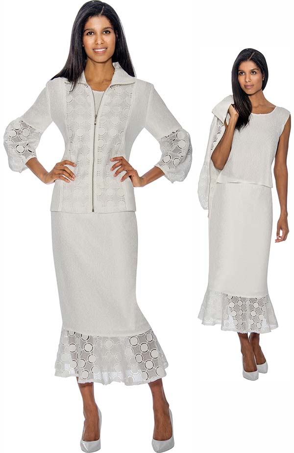 Rose Collection RC153-White Flounce Hem Skirt Suit With Intricate Cut-Out Design