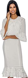 Rose Collection RC172 Flounce Hem Dress With Flared Sleeves & Applique Accents