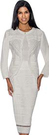 Rose Collection RC183-White Three Piece Womens Suit With Intricate Cut-Out Design