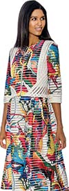 Rose Collection RC192 Jacket & Dress Set With Multi Color Print