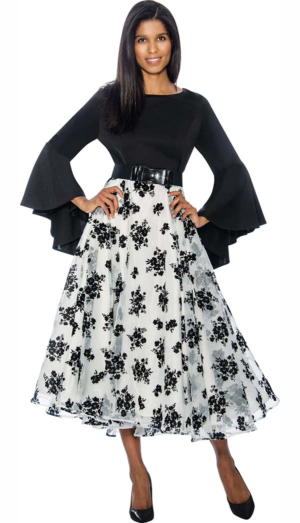 Rose Collection RD1035 Pleated A-Line Dress With Flared Sleeves & Floral Print