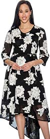 Rose Collection RD1036 Pleated Scoop Neckline Dress With Floral Print