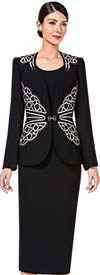 Serafina 3365 Womens Embroidery Design Skirt Suit