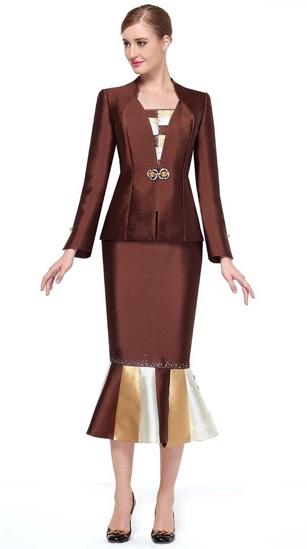 Serafina 3453-Brown - Trumpet Style Skirt Suit With Multi Color Design Flounce