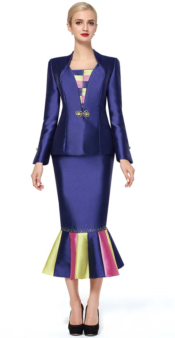 Serafina 3453-Navy - Trumpet Style Skirt Suit With Multi Color Design Flounce