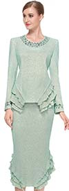 Serafina 3724-Mint - Embellished Jewel Collar Knit Skirt Suit With Ruffles