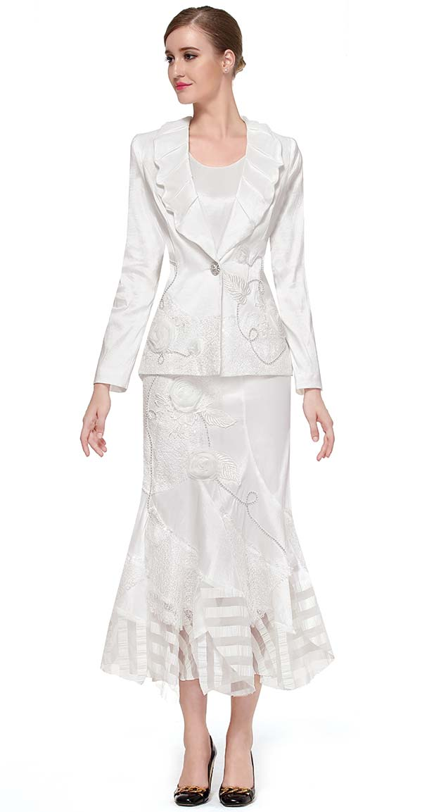 Serafina 3754 - Skirt Suit With Embroidered Design & Shawl Lapel Jacket